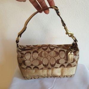 Coach brown, tan & gold monogram mini purse